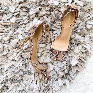 PrettyLittleThing Square Snakeskin Heels